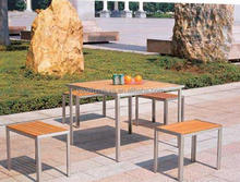 aluminum frame willow wood top outdoor table set YPC-S005