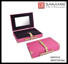 Sweetness Pink PU leather hard side cosmetic case with standing mirror