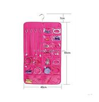 Hanging Jewelry Organizer pink 20 Pockets Bedroom Closet Accessory Storage