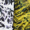 Do the old effect leaves pleated and printed polyester fabric in special style of garment fabric
