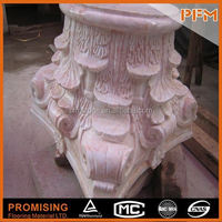 polished surface hand carved docorative roman parking pillar