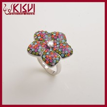 copper alloy flower shape jewelry finger ring with middle east crystal fashion ring