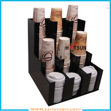 Custom Compartment Acrylic Coffee Paper Cup Holder Dispenser