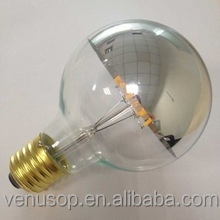 Trade Assurance dimmable hot selling LED products G25/G95/G125 LED bulbs light 8W 10w half chrome glass mirror shell
