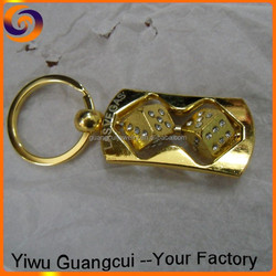 New zinc alloy LAS VEGAS double dice rotate keychain