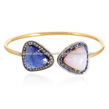 Tanzanite y Opal Gemstone Champagne Diamond Diseñador Flexible Pulsera Brazalete de Oro Joyería