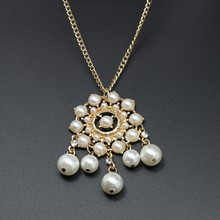 2015 new fashion alloy with white pearl beads long chain sweater pendant necklace TOPNE006
