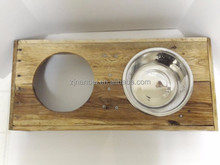 Custom logo solid wooden dog bowl box,wood double bowl boxes