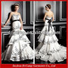 WD-1616 Fancy strapless fitted bodice layerd mermaid skirt black and white plus size wedding gowns andbridal dresses in karachi
