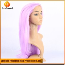 Customized Straight Purple 20'' Synthetic lace front wig for white woman