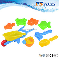 Poular Fashionable Beach Wheelbarrow with Watering Can Colorful Plastic Tools