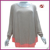 lady solid long sleeve fat t-shirt,contrast colour new design tshirts for women