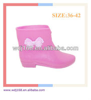 Cute Pink Lady's PVC Jelly Ankle Bowknot Rain Boots