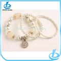 China, encanto de la cadena de enlace de perlas de vidrio de moda proveedor pulsera de bolas de perlas falsas para nupcial