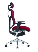 Elite aluminium comfort chair ergonomic office chair JS-502 RED MESH AND SEAT FABRIC comfort seat