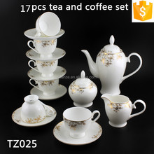 With Golden Flower Pattern Elegant Bone China 200ml Cup and 1000ml Pot 17PCS Ceramic Coffee and Tea Sets