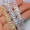 new listing design Close Cup Chain Grade A+ Crystal Clear Rhinestones Silver On