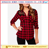 Ladies clothing red plaid print long sleeve lace patchwork 100% Cotton blouse