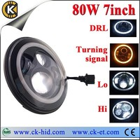 """7"""" round led sealed beam 40w replacement of jeep led headlight with h4 plug ,h13 adaptor for Hilux,Sierra ,TJ JK CJ Wrangle"""