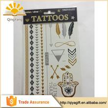 Nouveau mode mixte or $ Sliver Metallic gros temporaire tatouage tribal