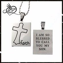 "Spiritual Faith Cross Stainless Steel Pendant, ""I Am so Blessed to Call You My Son"""