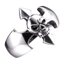Skull and crossbones rings male stainless steel skull rings