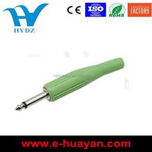 hot sale 6.35mm 1/4 Inch Mono Male Audio Plug colourful pvc jacket Solder Connector