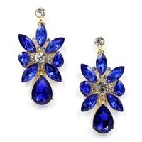 Hight quality 2015 HOT SALE new wholesale blue color fashion women earrings crystal stud earrings statement Earrings