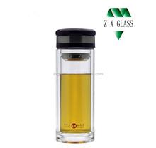 Double wall glass water bottle / glass drink tea water bottle / glass travel water bottle 350ml with tea infuser