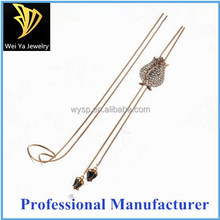Hot Sale Stainless Steel Necklace Flower Rhinestone Clothes Fashion Long Chain Necklace