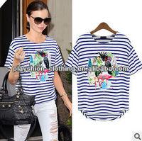 Top Newest European Style Trendy Women Anima Printing T-shirt Stripe 100%cotton Tops