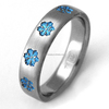 Titanium Wedding Ring With Small Blue Snowflake,Women Engagement Ring