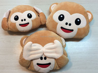 Household decorative peluche emoji monkey pillow wholesale