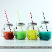 wholesale glass drinking jar, mason jar with handle metal lid and straw