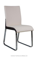 Cheap wholesale white leather chrome leg room chair dining