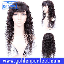 Rizado brasileño de la virgen del cordón del pelo humano pelucas para mujeres blancas