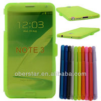 Clear Transparent Soft Buckle TPU Case For Samsung Galaxy note 3 N9000 With Touch Sensing Flip Cover