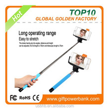 2015 China Factoy new arrival Extendable cable connection selfie stick with mirror