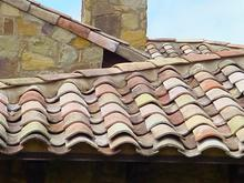 French antique terracotta roof tiles