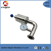 China supply stainless steel sanitary Exhause valve with gauge/bunging device