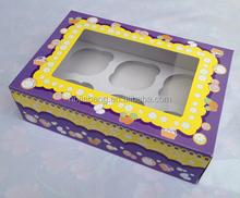 flat pack cardboard 6 pcs cupcake packaging