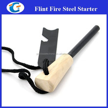 Hiking Tool Wooden Flint Firesteel Starter With Can Opener LM-18M