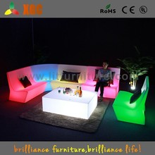 Night bar sofa with led lights, illuminated led sofa, plastic led sofa