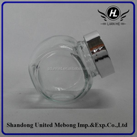 50ml clear empty flat drum glass jar for candy