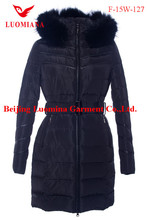 Denim Winter Jacket for Men Fabric Lady Duck Down Long Coat
