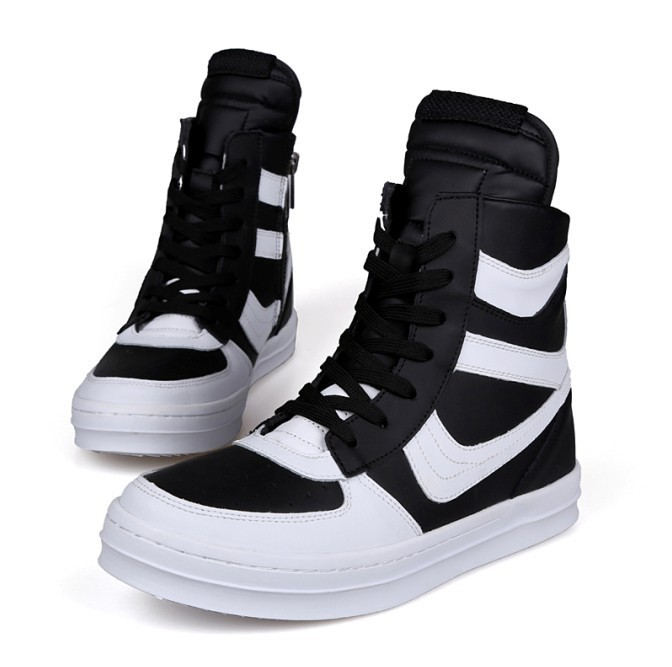 Free Shipping 2015 new fashion rick owen leather high-top male casual shoes side zipper rivet men\`s ankle boots flats Punk shoes-1
