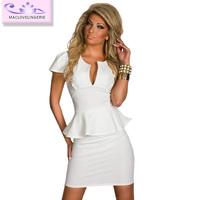 New Arrival Women Clothing ML17883 Mini Peplum White Bodycon Short Sleeve Office Dress