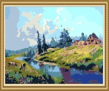40*50cm rural landscape painting, coloring by numbers