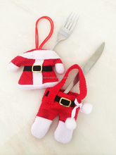 Christmas dinner party gifts Santa Claus cutlery holder pockets