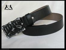 fashion belt with rhinestone gun belt buckle